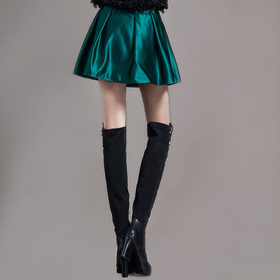 Regular Waist Luxe Plain A-Line Short Skirt