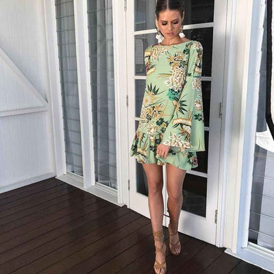 Trumpet Sleeve Boat Neck Cool Floral Print Dress