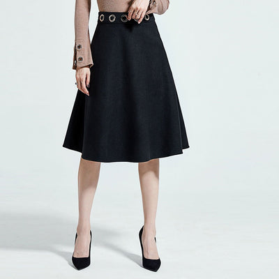 Knee Length Classic Plain A-Line Skirt