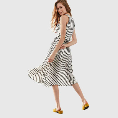 Sleeveless V Neck Cool Striped Dress