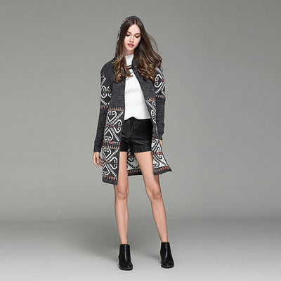 Long Sleeve Hooded Romantic Tribal Print Coat