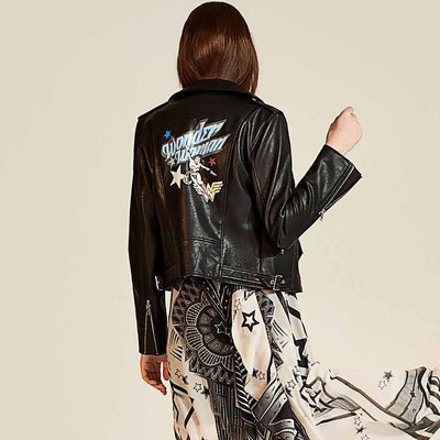 Long Sleeve Zipper Rocking Cartoon Print Jacket