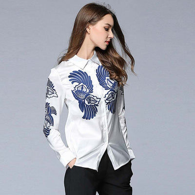 Cuff Sleeve Shirt Collar Chic Floral Embroidery Shirt