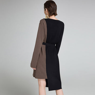 Long Sleeve Belted Edgy Color Block Dress