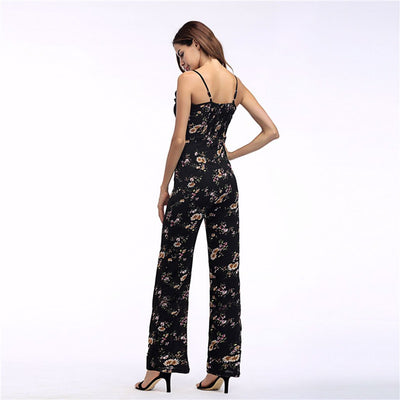 Sleeveless Spaghetti Strap Floral Print Cotton Jumpsuit