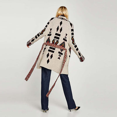 Long Sleeve Lapels Relaxed Geometric Print Coat