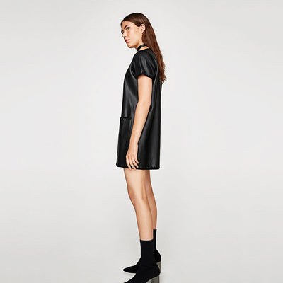 Short Sleeve Pockets On-Trend Plain Dress