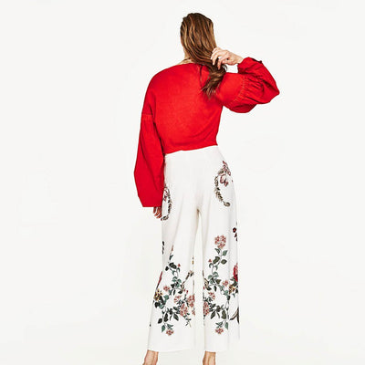 Medium Rise Wide Leg Oriental Floral Embroidery Pants