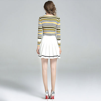 Long Sleeve Round Neck Retro Striped Acrylic Sweater