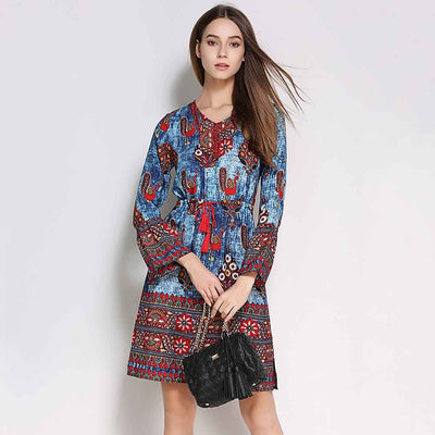 Trumpet Sleeve Beaded Boho Floral Print Dress
