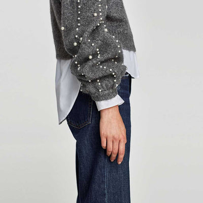 Long Sleeve Pearl Chic Plain Sweater