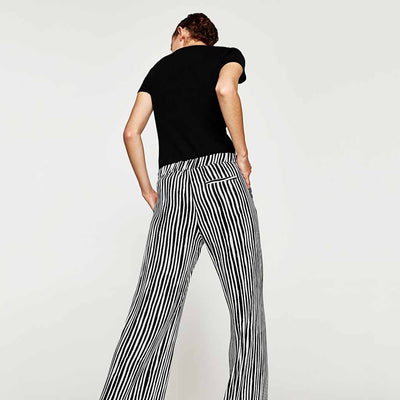 Medium Rise Wide Leg Flattering Striped Pants