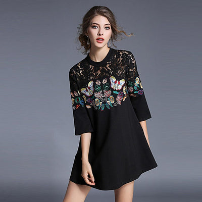 3/4 Length Sleeve Round Neck Retro Floral Embroidery Dress