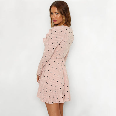 Long Sleeve V Neck Flirty Polka Dot Dress