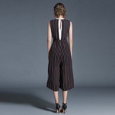 Sleeveless V Neck Boyish Striped Jumpsuit