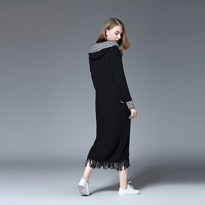 Long Sleeve Hooded Floaty Plain Coat