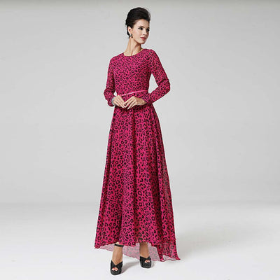 Long Sleeve Round Neck Wild Leopard Print Chiffon Dress