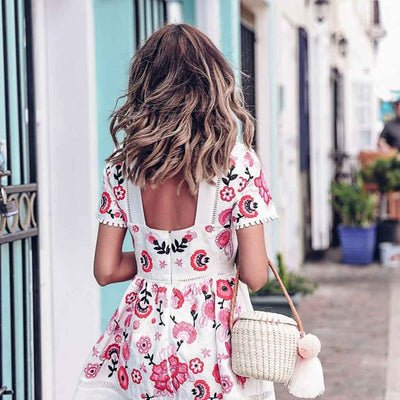 Short Sleeve Round Neck Girly Floral Print Dress