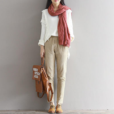 Medium Rise Straight Cut Casual Plain Pants