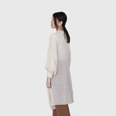 Puff Sleeve Collarless Chic Plain Coat