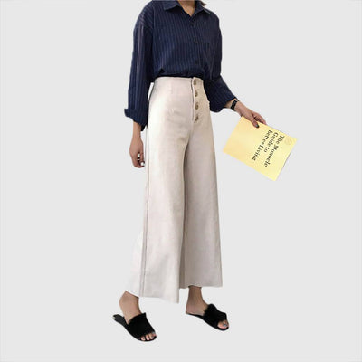 High Rise Button Nautical Plain Pants