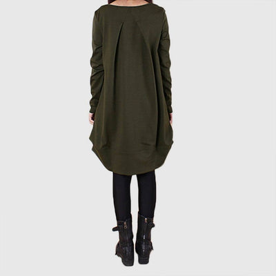 Long Sleeve Boat Neck Edgy Plain Dress
