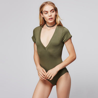 Short Sleeve V Neck Basic Plain Bodysuit