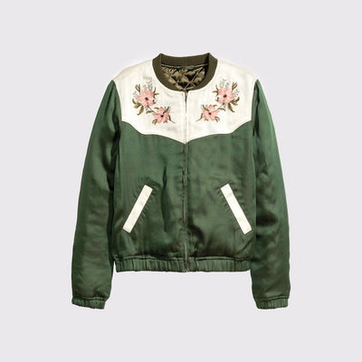 Long Sleeve Round Neck Cute Floral Embroidery Jacket