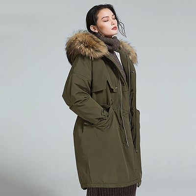 Long Sleeve Faux Fur Sporty Plain Quilted Parka