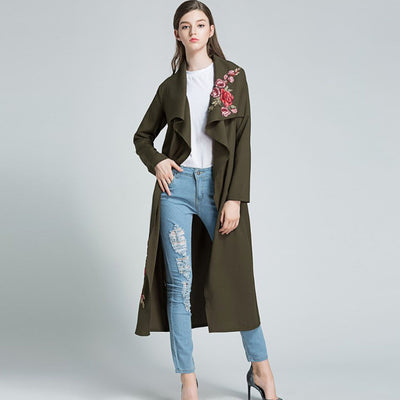Long Sleeve Lapels Romantic Floral Embroidery Jacket