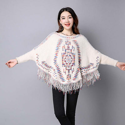 Batwing Sleeve Round Neck Sweet Tribal Print Sweater
