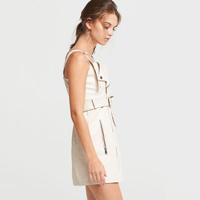 Sleeveless Belted Sexy Plain Dress