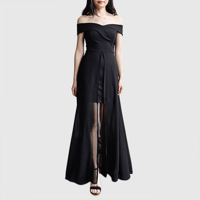 Cap Sleeve Slit Elegant Plain Gown