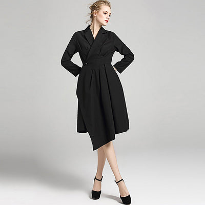 Bracelet Sleeve Lapels Stylish Plain Dress