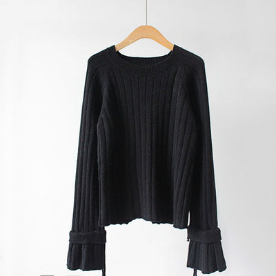 Trumpet Sleeve Boat Neck Cozy Plain Sweater