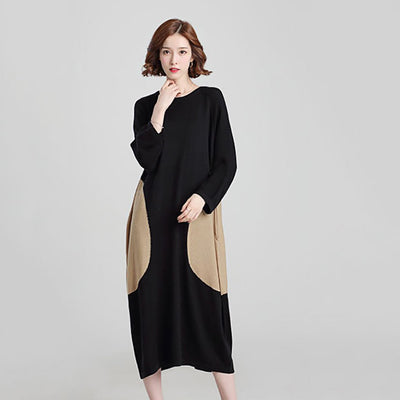 Long Sleeve Round Neck Simple Color Block Dress