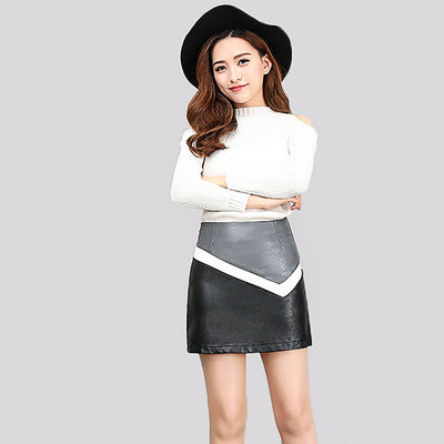 Regular Waist Modern Color Block Skirt