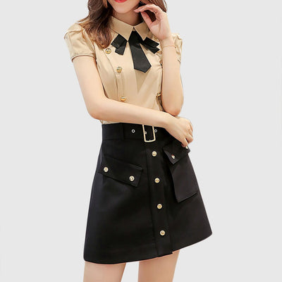 Regular Waist Poppers Modern Plain Skirt