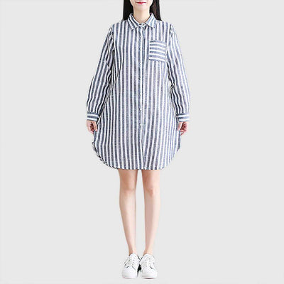 Cuff Sleeve Shirt Collar Preppy Striped Dress
