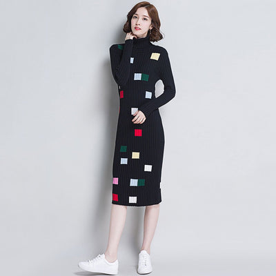 Long Sleeve Polo Neck Cool Geometric Print Dress