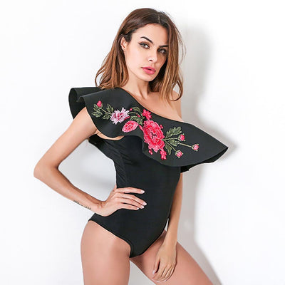 Sleeveless Applique Stunning Floral Embroidery Bodysuit