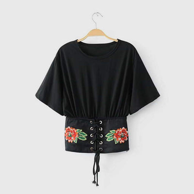 Short Sleeve Lace-Up On-Trend Floral Embroidery Top