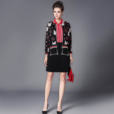 Long Sleeve Pockets Cute Kitsch Print Jacket