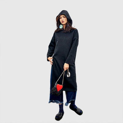 Long Sleeve Hooded Urban Plain Tunic
