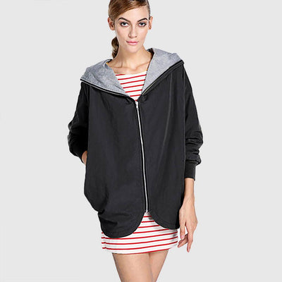 Cuff Sleeve Hooded Urban Plain Coat