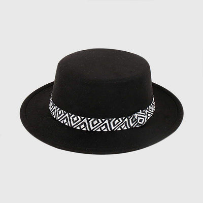 Trimmed Boyish Tribal Embroidery Trilby Hat