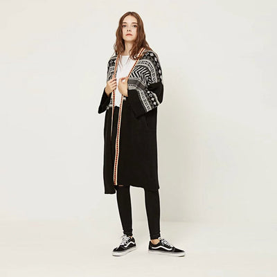 Long Sleeve Collarless Boho Geometric Print Coat