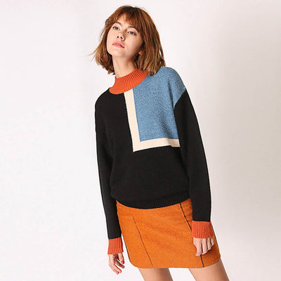 Long Sleeve Turtle Neck Retro Color Block Sweater