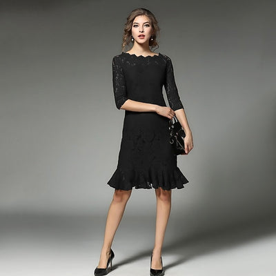 Half Sleeve Lace Romantic Plain Dress