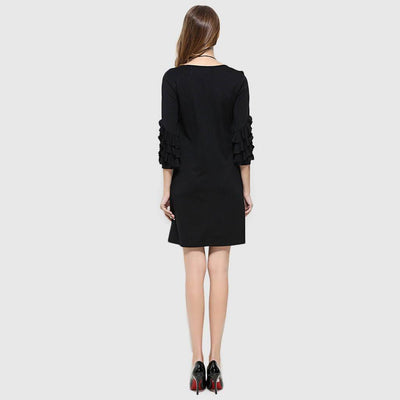 Ruffle Sleeve Ruffles Chic Plain Dress
